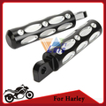 Black Motorcycle Foot Pegs FootRest For Harley Davidson Male Mount CNC Aluminum Driver Passenger Footpegs Edge Cut