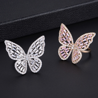 Trendy Butterfly Shape Stud Earrings Ring and Bracelet Sets For Women Wedding Engagement Jewlery