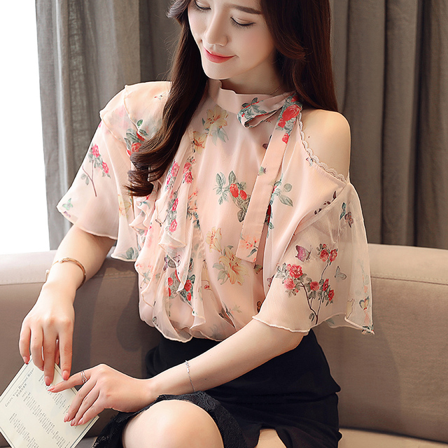חדש פרח הדפסת פתוח כתף עניבת פרפר נשים חולצות קיץ מקרית קר כתף חולצות קצר שרוול רופף חולצה נשים blusas 306E5