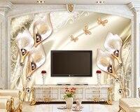 Beibehang高級チューリップジュエリー写真壁紙papel壁画デラックスリビングルーム背景壁紙壁紙壁用3 d
