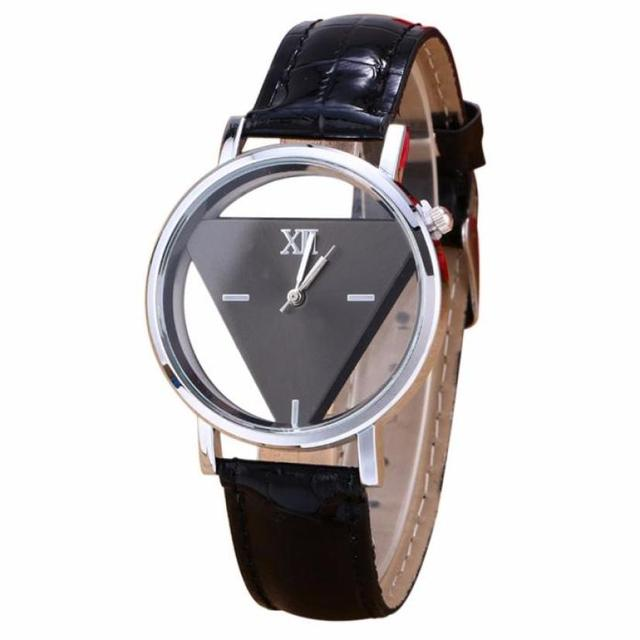 Mens Womens Watches Unique Hollowed-out Triangular Dial Clock PU Leather Quartz
