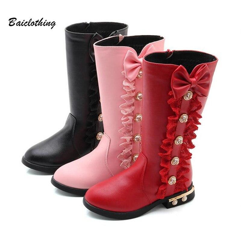 2017 Autumn Winter New Children Boots Girls Pu Leather Boots Fashion Martin Boots High Children Princess Girls Shoes Size 27-37
