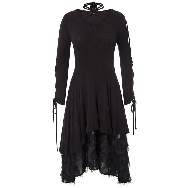 A-line Black dress Women retro style Gothic Victorian Long Ribbon Lace up Sleeves V-Neck Witchy vintage Dress for party vestido