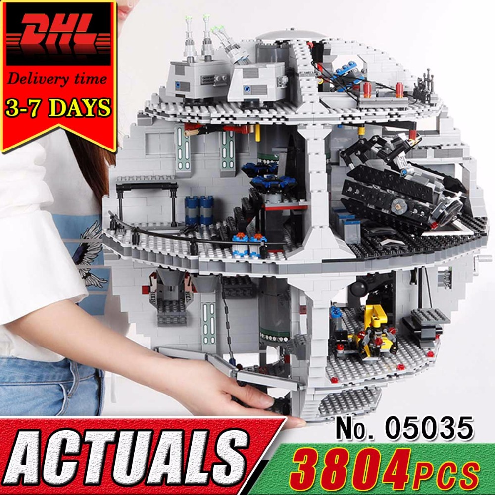 DHL LEPIN 05035 Death 3804pcs Star Building Blocks Set Compatible Bricks Model Kit Military War Classic Kids Toy For Child 10188 clone 10188 dhl lepin 05035 3803pcs star model death star model building kit set blocks bricks children toy gift