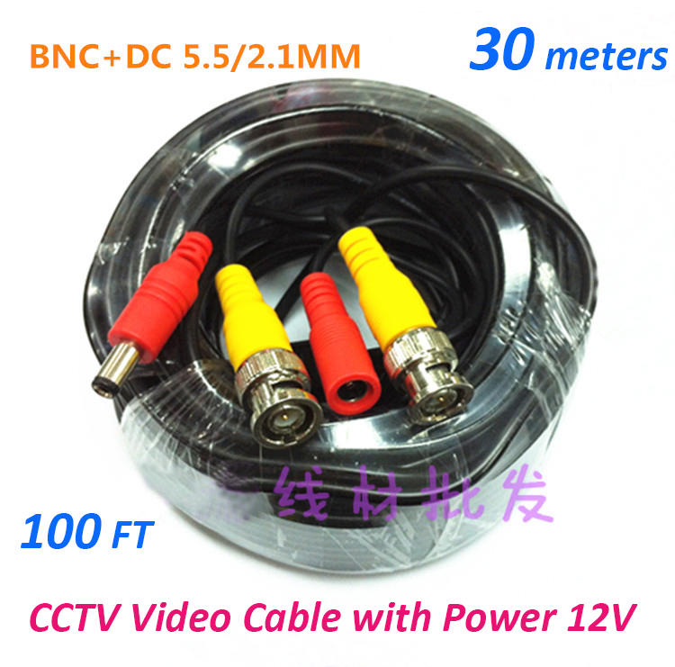 30m CCTV Cable video+power BNC+DC 100FT CCTV Camera Cable DVR Cable BNC Coaxial Cable security installations CCTV Accessory