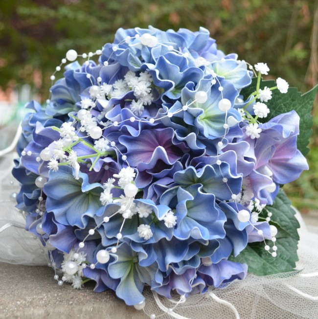 Blue Hydrangea Wedding Flowers: Luxury Real Touch Blue Hydrangea Flowers Wedding/Bridal