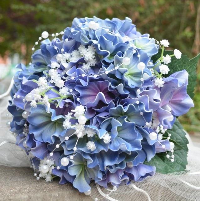 Luxury Real Touch Blue Hydrangea Flowers Wedding Bridal Bouquet Decoration