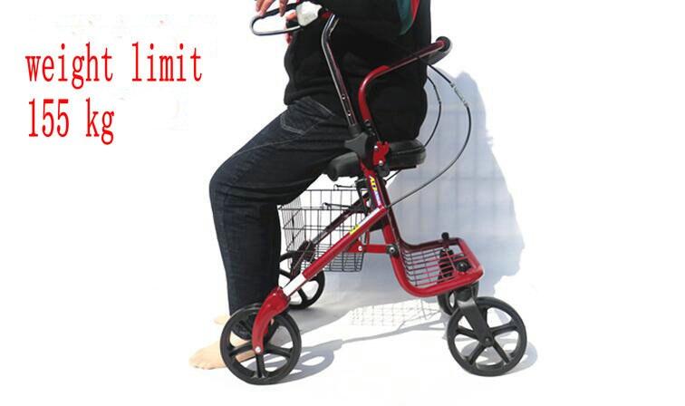 Portable super light elder adult folding shopping 4 wheel seat rolling walker rollator wheelchair cart Hand Wheel Scooter