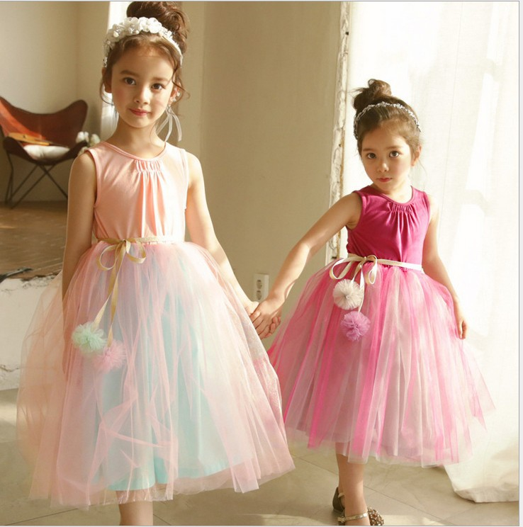 Everweekend Kids Flower Tutu Ruffles Dress Western Fashion Tulle Princess Party Dress Sweet Children Summer Clothing