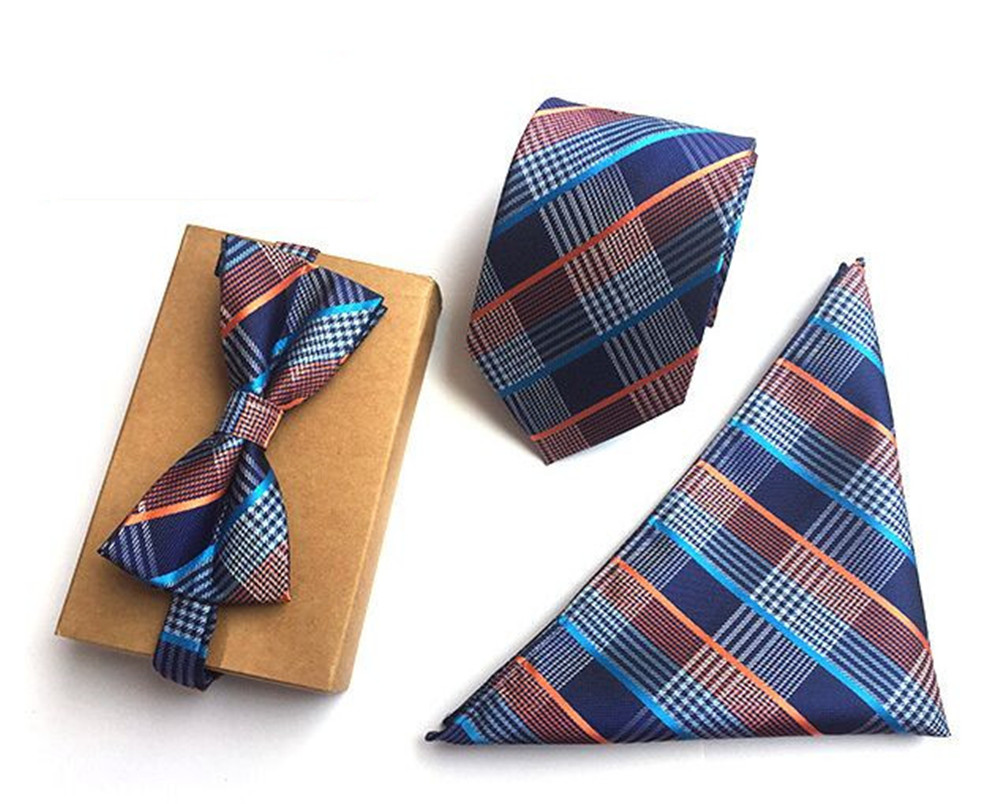 SCST Brand 2017 New Blue Plaid Print Mens Neckties Silk Ties For Men Handkerchief And Bow Tie With Match Tie 3pcs Set A054