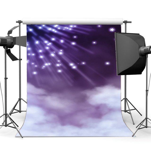 Baby Shower tło bajki Twinkle gwiaździsta noc świecące światła biały chmura fantastyka fotografia tło