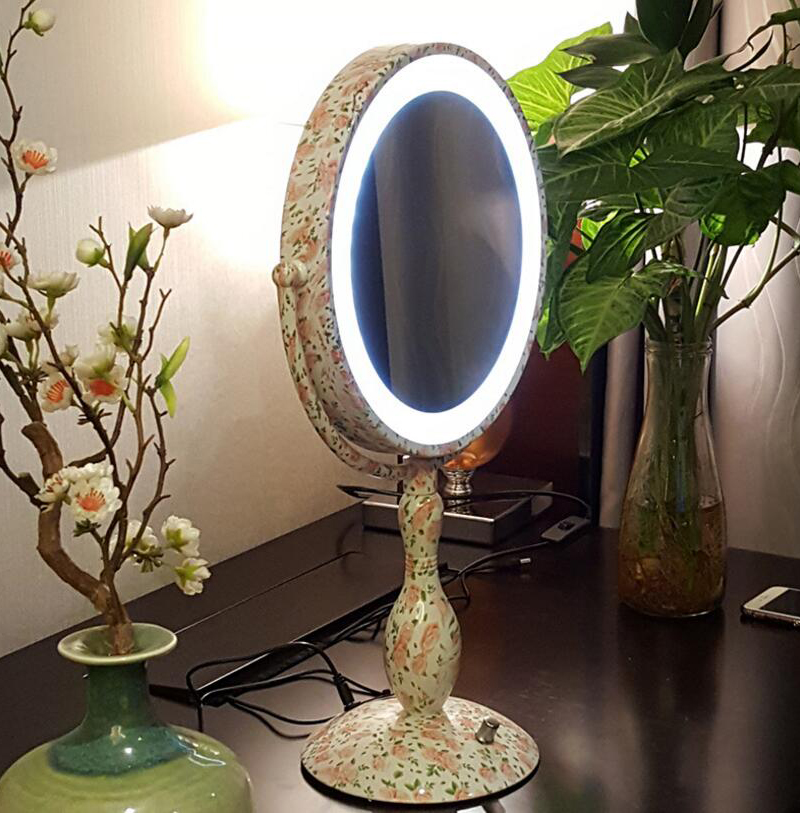 Dimmable LED Double Sided Table Mirror with light 12 Inch led cosmetic mirror ladys 3X magnifying pespelho Makeup Mirror