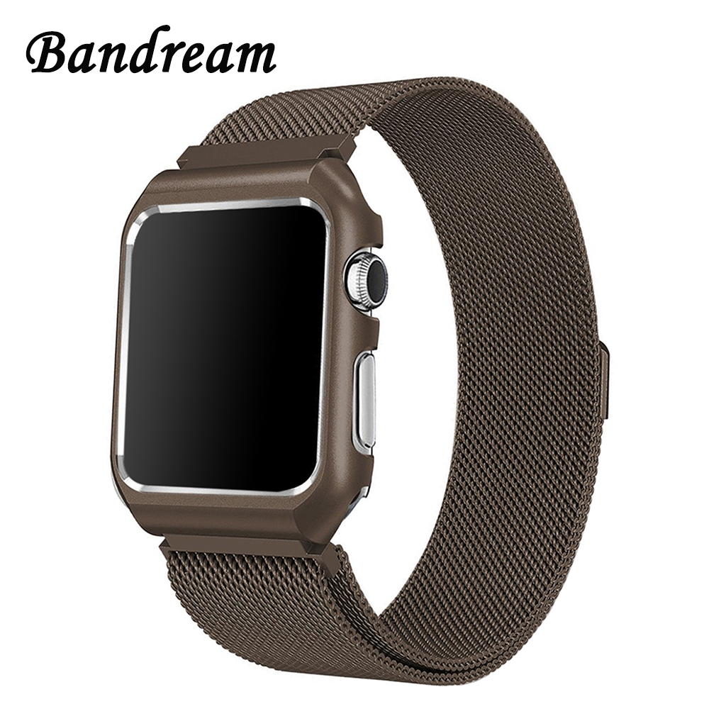 Milanese Loop Watchband + Metal Case for iWatch Apple Watch 38mm 42mm Stainless Steel Band Magnetic Strap Wrist Belt Bracelet noto hot sale 38mm 42mm metal watchband for apple watch awmlmcs stainless steel magnetic closure milanese loop for apple watch