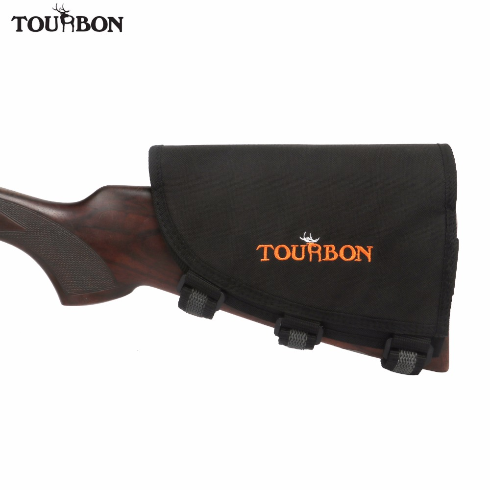 Tourbon Memburu Aksesori Gun Rifle Gun Buttstock Cheek Rest w / 3pads Pelarasan laras Memegang 10 Rifle Cartridge Pemegang Ammo