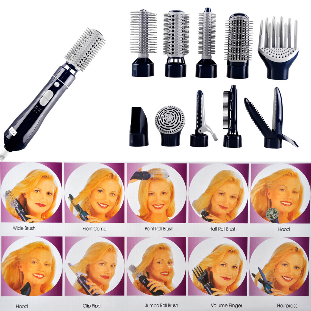 10in1 110v-220v power Multifunctional Hair curlers styling tools hair sticks kinkiness hair dryer machine comb hairdressing tool promotion hair comb combs electric 10 in1 multifunctional hair curlers styling tools sticks dryer set curling tongs