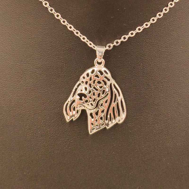 2018 English Setter Dog Animal Pendant Necklace Gold Silver Plated Jewelry For Women Male Female Girls Ladies Punk Cute N186