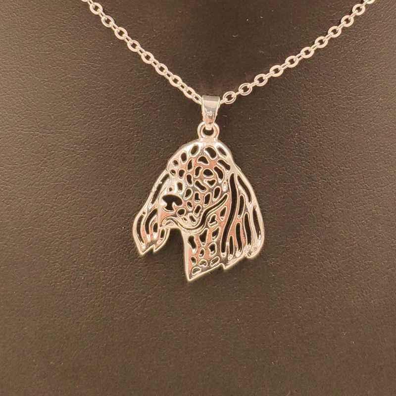 2018 seter angielski pies zwierząt wisiorek naszyjnik złoty posrebrzane biżuteria dla kobiet mężczyzna kobiet dziewczyny panie Punk śliczne N186