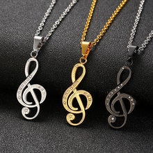 Vnox Musical Note Pendant Necklace for Women Silver Black Gold Color(China)