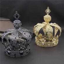 شعبية الباروك خمر الملكي الملك الإكليل حفلة موسيقية الذكور كعكة حفلة موسيقية الزفاف الشعر مجوهرات رجل تاج الجولة