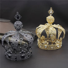 Beliebte Barock Vintage Königlichen König Diadem Prom Party Männlichen Kuchen Party Prom Hochzeit Haar Schmuck Mann Crown Runde