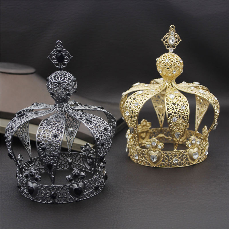 Popular Baroque Gold Silver Vintage Royal King Diadem Prom Party Male Cake Party Prom Wedding Hair Jewelry Man Crown Round