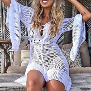 knitting White Crochet Tunic Beach Wear Saida De Flare Sleeve Bikini Cover-Up New Long Sleeve Beach Dress Hollow Out Cover Ups