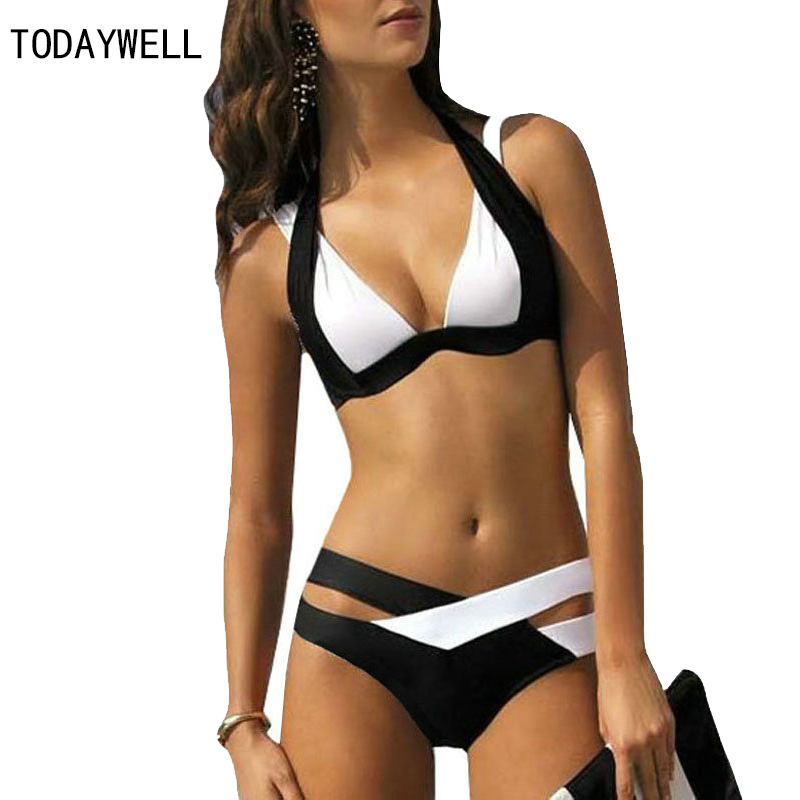 Sexy Bikinis Women Swimsuit 2017 Summer Beach Wear Bikini Set Push Up Swimwear female Bandage Bathing Suit Black And White