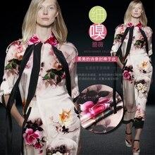 (50 cm/lot) digital printed silk fabrics 19 mm satin flowers stretch cloth hang well heavy
