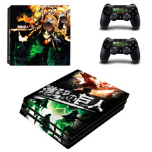 Attack On Titan Anime Sticker for Sony Playstation 4 Pro PS4 Pro Promotion Console +2Pcs Controller Protective Flim