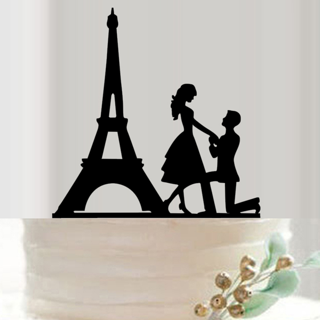 Wedding Cake Topper Proposed Cake Picks Stand Acrylic Eiffel Tower ...