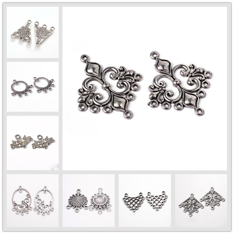 20pcs Antique Silver Tibetan Style Earring Component Connector For Jewelry Making DIY