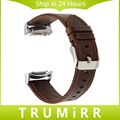 20mm Genuine Leather Watch Band Crazy Horse Strap for Samsung Gear S2 SM-R720 / R730 Quick Release Belt Bracelet Brown + Adapter