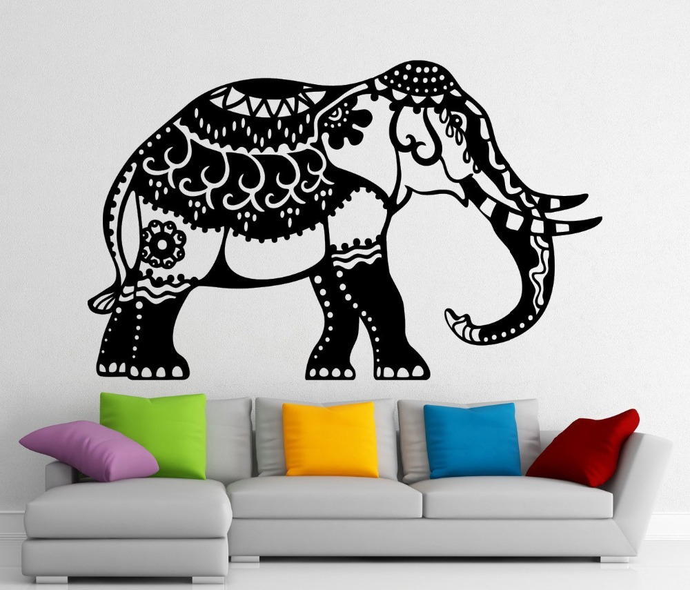 India elephant wall decals mandala buddha decor living room india elephant wall decals mandala buddha decor living room bedroom vinyl wall sticker om symbol mural ornament wall art s 498 in wall stickers from home amipublicfo Images