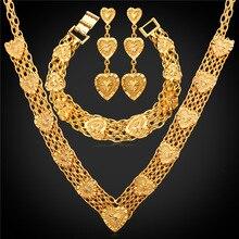 Accesorios de boda corazón collar pulsera pendientes conjunto Color oro MGC moda Vintage nupcial joyería conjuntos NEH233