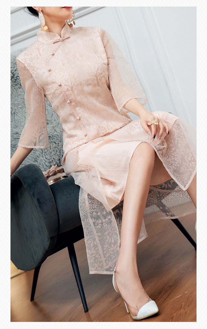 Midi Dress Women 2019 New Stand Collar Perspective Three Quarter Sleeves Flocking Slim Split Organza Cheongsam Dress S XXL in Dresses from Women 39 s Clothing