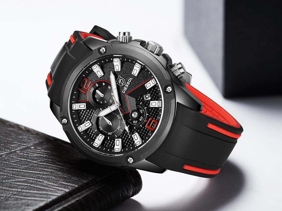 DIESSOL Men's Fashion Sports Quartz Watch Mens Watches Top Brand Luxury Rubber Band Waterproof Business Watch Relogio Masculino 25