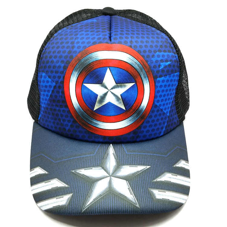 50bfb1dbf9ab2 Captain America Hat spider man baseball cap green giant visor outdoor  cartoon batman Mesh hat Cotton