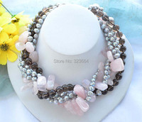 5strands Gray Baroque Pearl Pink Crystal Smoky Quartz Bead Necklace 17inch