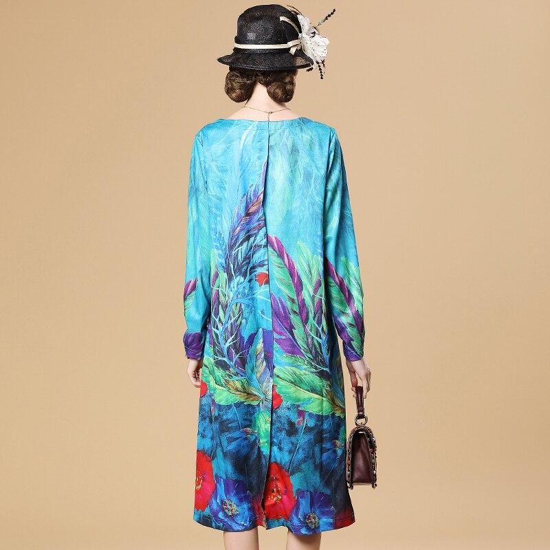 cou Automne Blue Robes D'o Impression Floral Femmes Hkl008 2019 Style Partie Chinois Sexy Lâche Nouveau Plus Tailles Robe nIOqAT