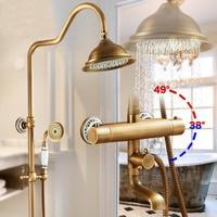 Lüks Antik Pirinç Termostatik Yağmur Duş Seti Musluk Küvet Mikser Dokunun el Duş Termostatik Banyo ve duş musluk