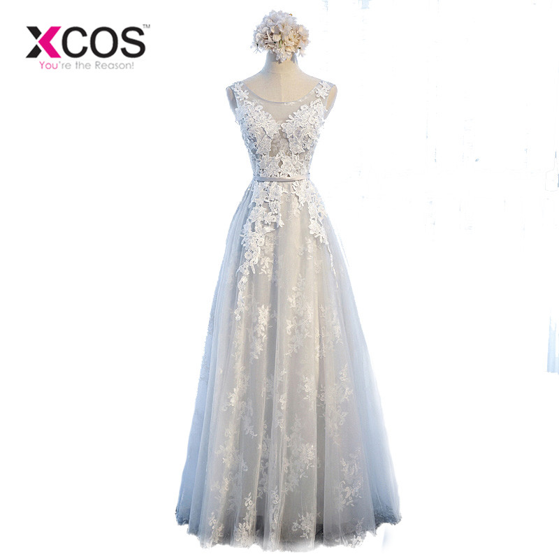 XCOS Elegant Long   Bridesmaid     Dresses   Appliques vestido madrinha Lace Lace-up Style Wedding Party   Dress