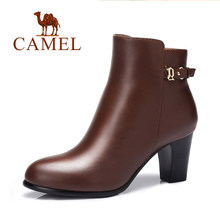 Camel women's camel shoes autumn and winter boots genuine leather round toe zipper high-heeled boots fashion boots