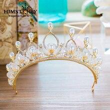 HIMSTORY Charming Princess Wedding Bridal Hair Crown Handmad Pearl Jewelry Fascinator Headpiece gift  Accessories
