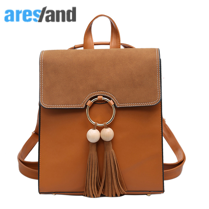 Aresland Women Bag Fashion Porcel Tassel Square Girls Backpack Scrub PU Leather Women Backpack A4 Notebook
