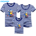 Striped Family Matching T Shirts Fashion Father Son Mother Daughter Cartoon Minions Short Sleeve T-shirt Famliy Outfits Clothing