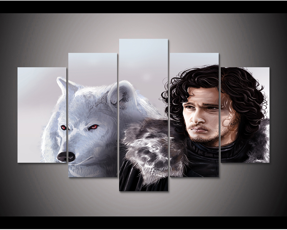 Framed Hd Print 5pcs Game Of Thrones John Snow Ghost