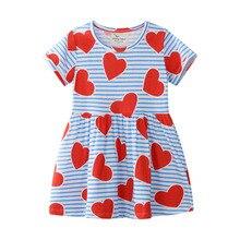 Girl Summer Clothes Cartoon Princess Dress Sequin Girls Heart Printed Kids Stripes Short Sleeve