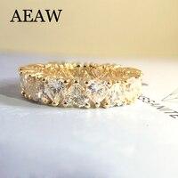 Luxury 3mm F Color Engagement Band Wedding Heart Moissanite Full Diamond Band For Women Solid 14K