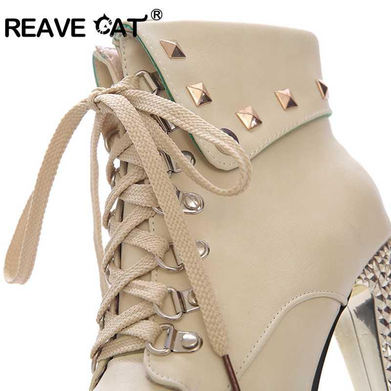 REAVE القط 15 سنتيمتر فائقة عالية الكعب منصة الخريف الشتاء أحذية حريمي برقبة بوتاس المسامير بريق الدانتيل يصل عقدة موضة مثير Hots