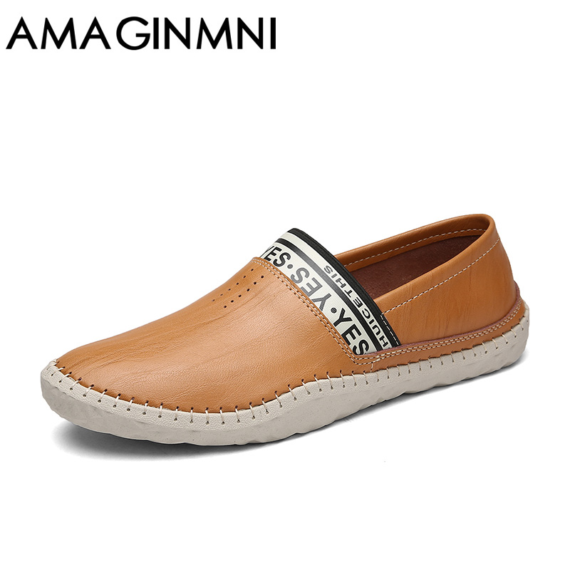 AMAGINMNI Brand New Men Driving Shoes Breathable High Quality Casual Shoes Leather Casual Shoes Slip On men Fashion Lazy shoes цена и фото